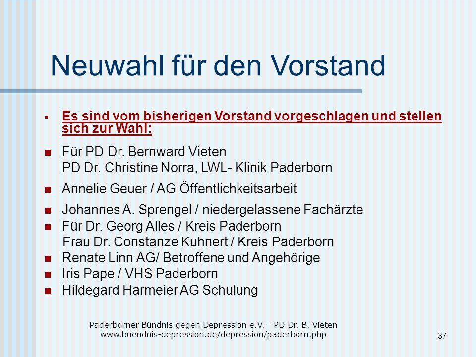 Neuwahl für den Vorstand  Es sind vom bisherigen Vorstand vorgeschlagen und stellen sich zur Wahl: Für PD Dr.