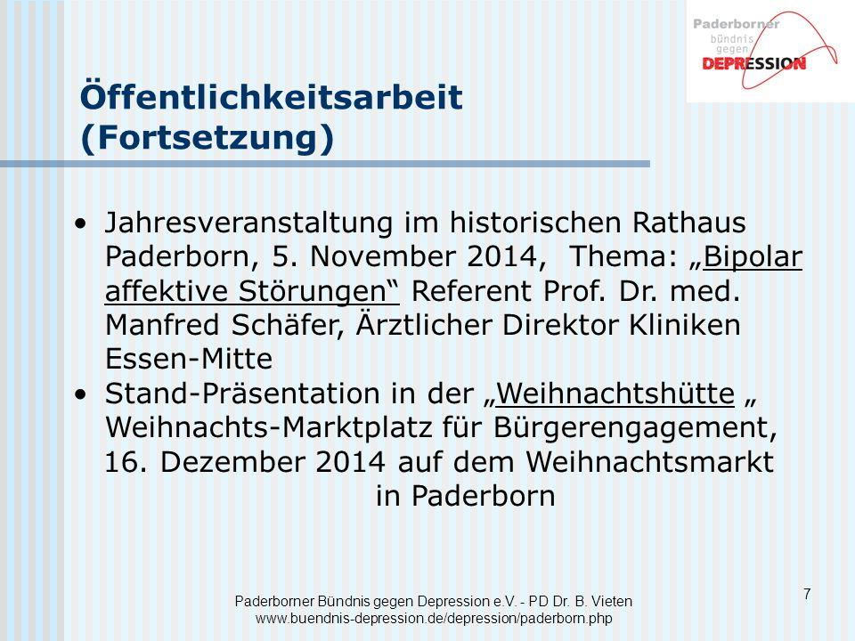 8 Auswertung der Veranstaltung Paderborner Bündnis gegen Depression e.V.