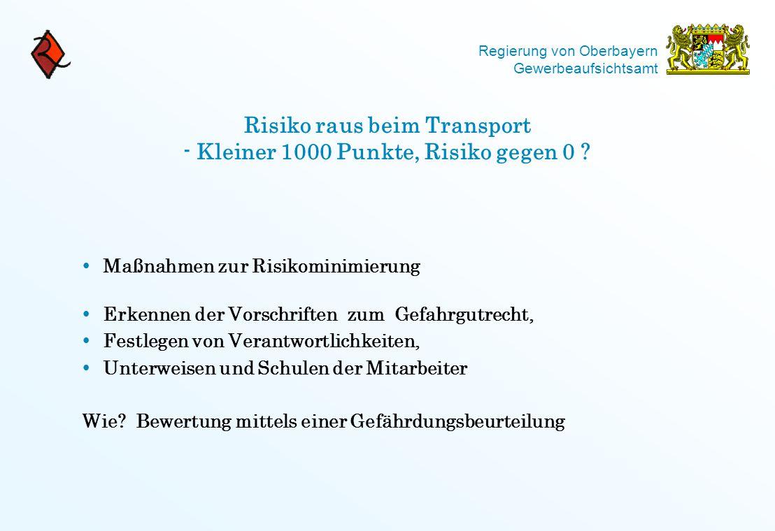 Regierung von Oberbayern Gewerbeaufsichtsamt Risiko raus beim Transport - Kleiner 1000 Punkte, Risiko gegen 0 ?  Maßnahmen zur Risikominimierung  Er