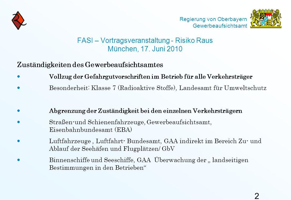 Regierung von Oberbayern Gewerbeaufsichtsamt FASI – Vortragsveranstaltung - Risiko Raus München, 17. Juni 2010 Zuständigkeiten des Gewerbeaufsichtsamt