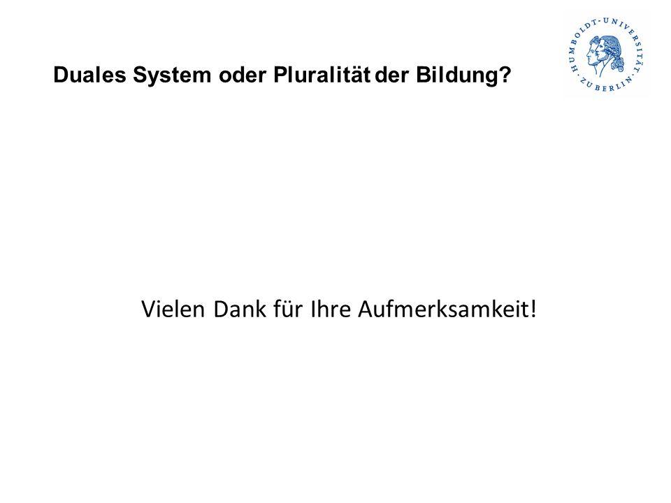 Duales System oder Pluralität der Bildung Vielen Dank für Ihre Aufmerksamkeit!