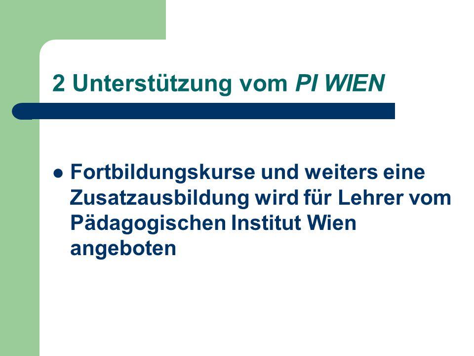 2 Unterstützung vom PI WIEN Fortbildungskurse und weiters eine Zusatzausbildung wird für Lehrer vom Pädagogischen Institut Wien angeboten