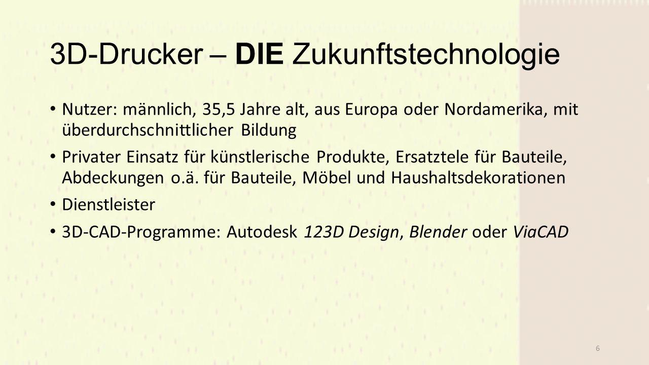 3D-Drucker – DIE Zukunftstechnologie Nutzer: männlich, 35,5 Jahre alt, aus Europa oder Nordamerika, mit überdurchschnittlicher Bildung Privater Einsatz für künstlerische Produkte, Ersatztele für Bauteile, Abdeckungen o.ä.