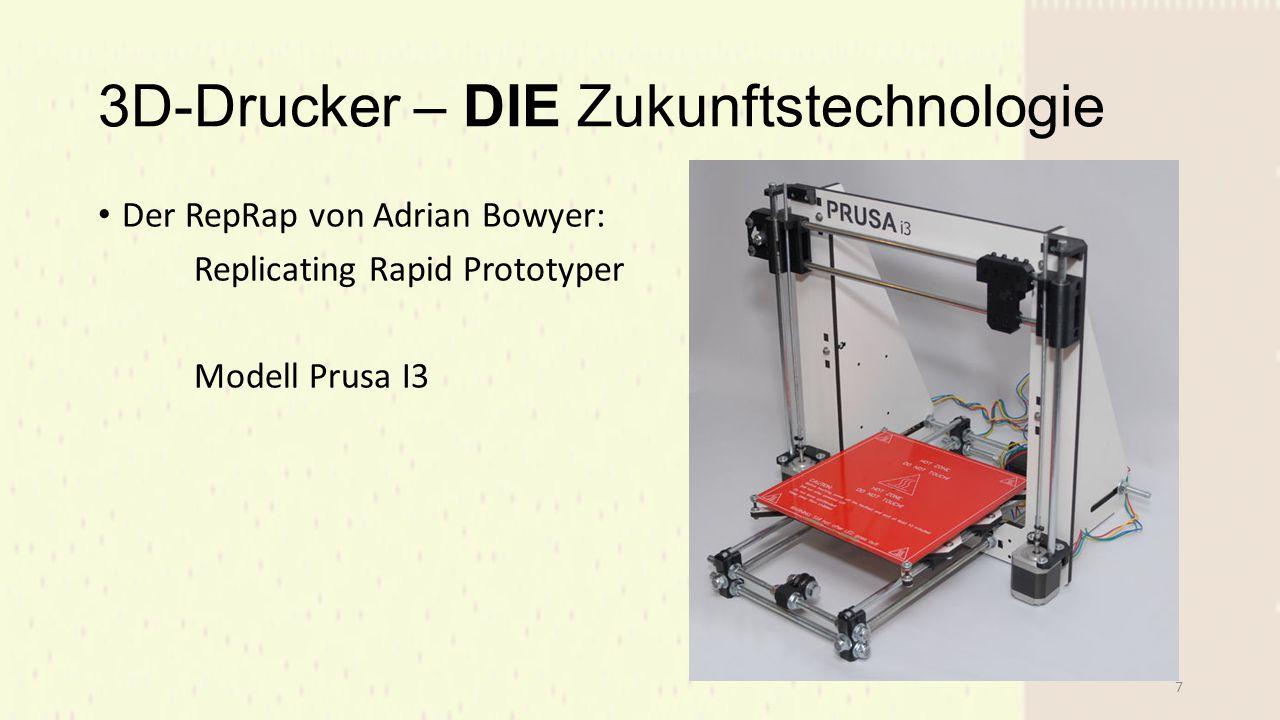 3D-Drucker – DIE Zukunftstechnologie Der RepRap von Adrian Bowyer: Replicating Rapid Prototyper Modell Prusa I3 7