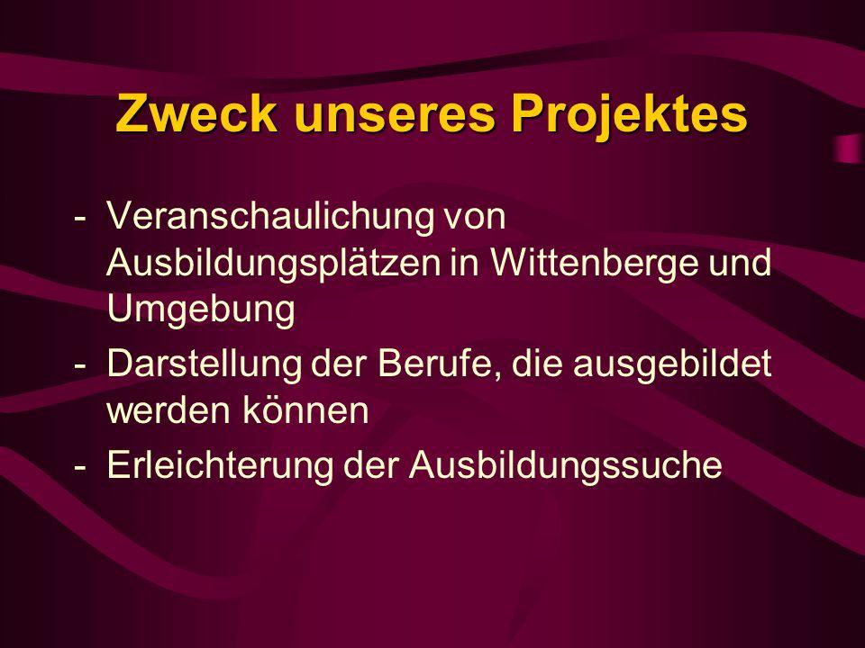 Zweck unseres Projektes -Veranschaulichung von Ausbildungsplätzen in Wittenberge und Umgebung -Darstellung der Berufe, die ausgebildet werden können -Erleichterung der Ausbildungssuche