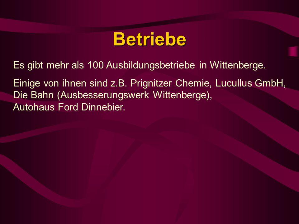 Betriebe Es gibt mehr als 100 Ausbildungsbetriebe in Wittenberge. Einige von ihnen sind z.B. Prignitzer Chemie, Lucullus GmbH, Die Bahn (Ausbesserungs