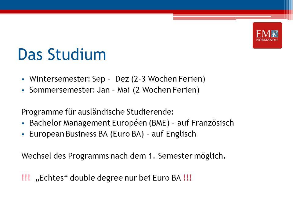 Das Studium Wintersemester: Sep - Dez (2-3 Wochen Ferien) Sommersemester: Jan – Mai (2 Wochen Ferien) Programme für ausländische Studierende: Bachelor