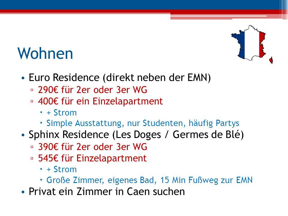 Wohnen Euro Residence (direkt neben der EMN) ▫ 290€ für 2er oder 3er WG ▫ 400€ für ein Einzelapartment  + Strom  Simple Ausstattung, nur Studenten,