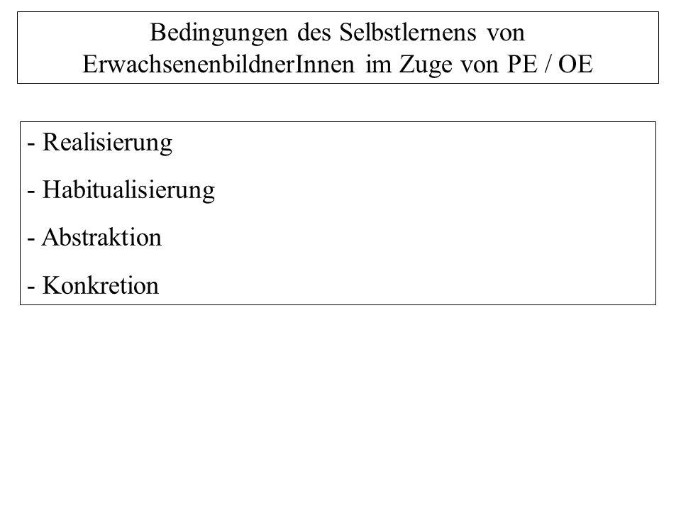 Bedingungen des Selbstlernens von ErwachsenenbildnerInnen im Zuge von PE / OE - Realisierung - Habitualisierung - Abstraktion - Konkretion
