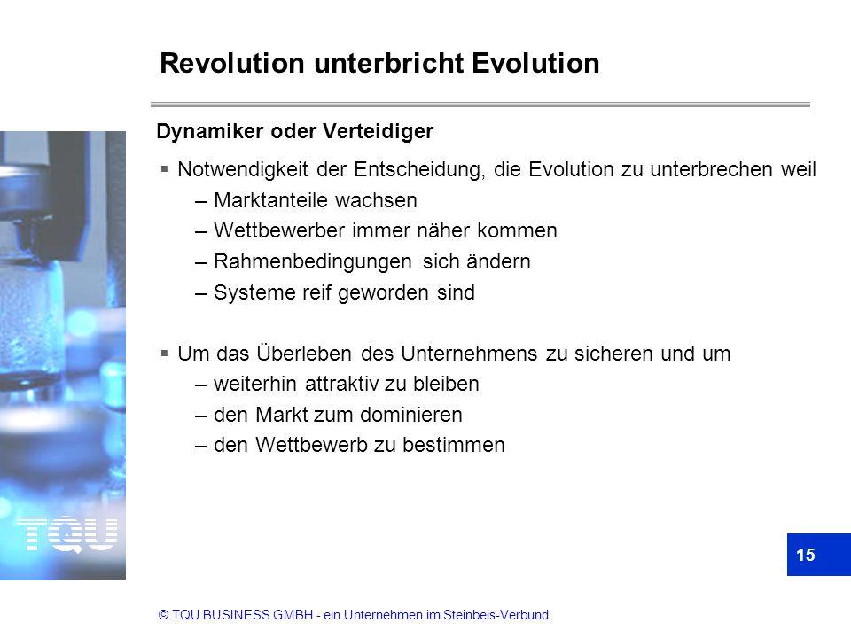© TQU BUSINESS GMBH - ein Unternehmen im Steinbeis-Verbund Revolution unterbricht Evolution  Notwendigkeit der Entscheidung, die Evolution zu unterbr