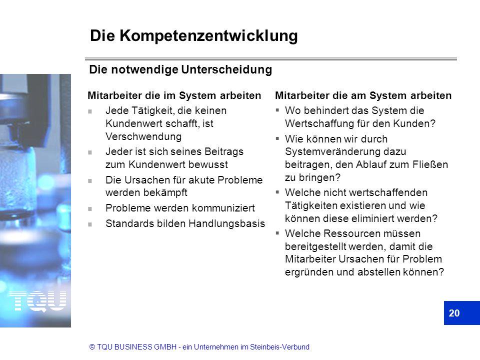 © TQU BUSINESS GMBH - ein Unternehmen im Steinbeis-Verbund Die Kompetenzentwicklung Mitarbeiter die im System arbeiten n Jede Tätigkeit, die keinen Ku