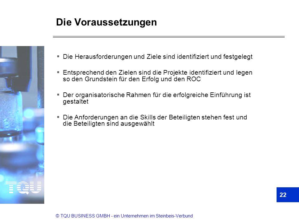 © TQU BUSINESS GMBH - ein Unternehmen im Steinbeis-Verbund Die Voraussetzungen 22  Die Herausforderungen und Ziele sind identifiziert und festgelegt