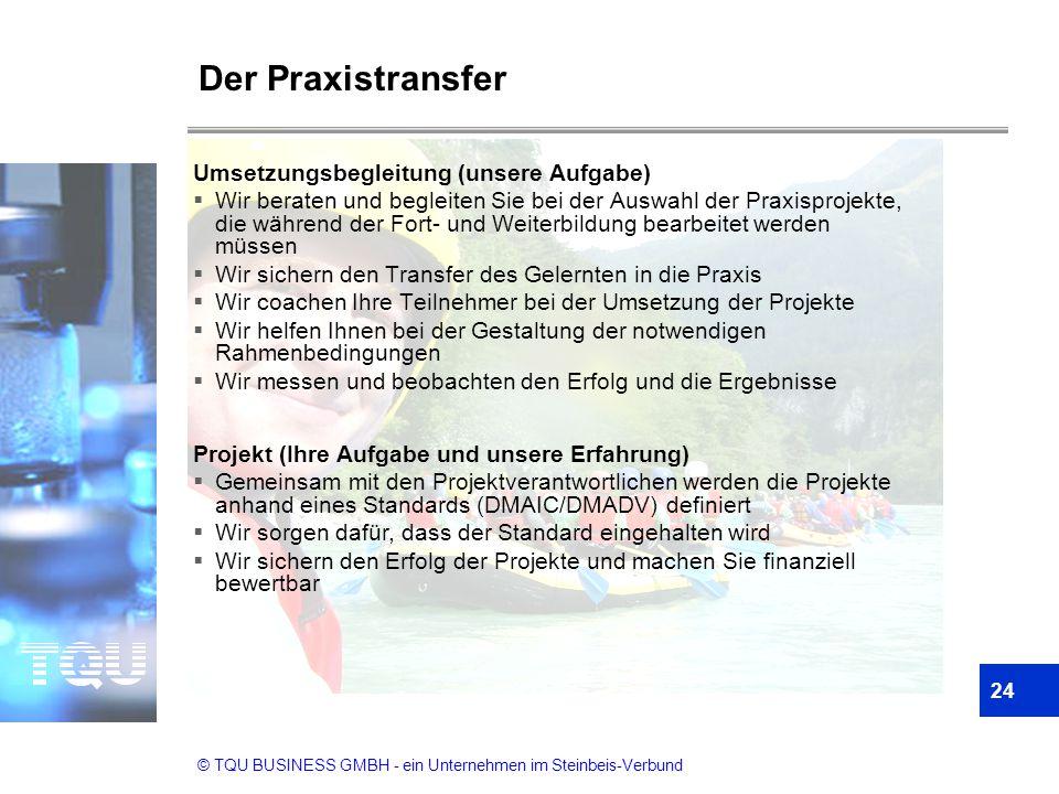 © TQU BUSINESS GMBH - ein Unternehmen im Steinbeis-Verbund Der Praxistransfer Umsetzungsbegleitung (unsere Aufgabe)  Wir beraten und begleiten Sie be