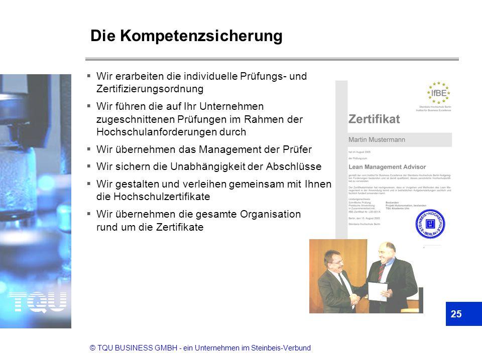 © TQU BUSINESS GMBH - ein Unternehmen im Steinbeis-Verbund Die Kompetenzsicherung  Wir erarbeiten die individuelle Prüfungs- und Zertifizierungsordnu