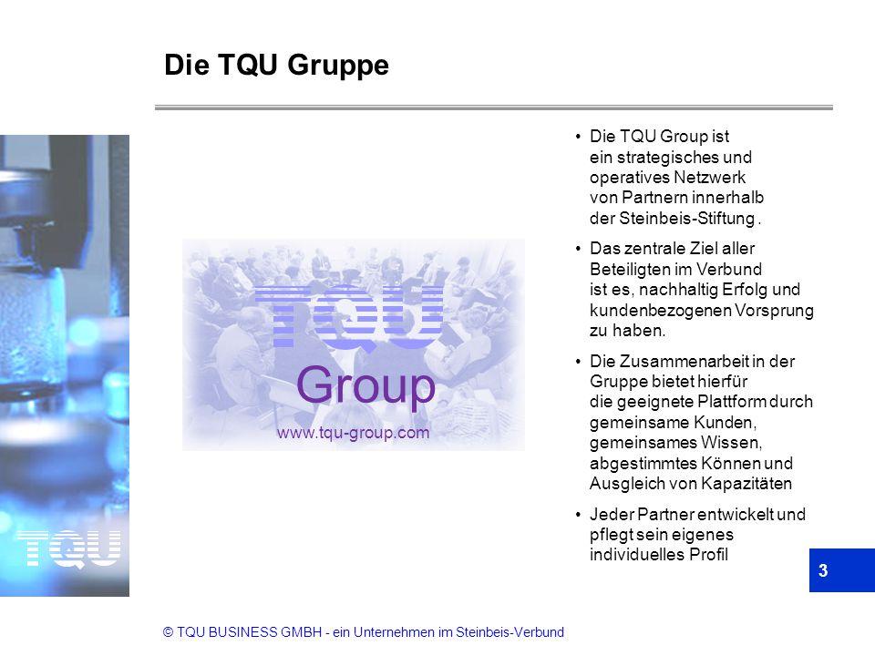 © TQU BUSINESS GMBH - ein Unternehmen im Steinbeis-Verbund 3 Die TQU Gruppe Die TQU Group ist ein strategisches und operatives Netzwerk von Partnern i