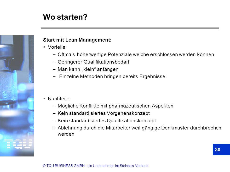 © TQU BUSINESS GMBH - ein Unternehmen im Steinbeis-Verbund Wo starten? Start mit Lean Management:  Vorteile: –Oftmals höherwertige Potenziale welche