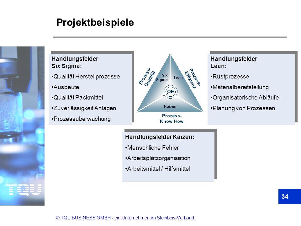 © TQU BUSINESS GMBH - ein Unternehmen im Steinbeis-Verbund Projektbeispiele 34 Handlungsfelder Six Sigma: Qualität Herstellprozesse Ausbeute Qualität