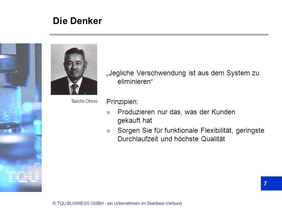 """© TQU BUSINESS GMBH - ein Unternehmen im Steinbeis-Verbund Die Denker 7 """"Jegliche Verschwendung ist aus dem System zu eliminieren"""" Prinzipien: n Produ"""