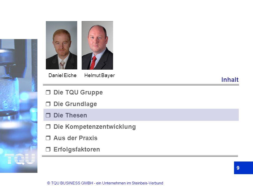 © TQU BUSINESS GMBH - ein Unternehmen im Steinbeis-Verbund 9  Die TQU Gruppe  Die Grundlage  Die Thesen  Die Kompetenzentwicklung  Aus der Praxis