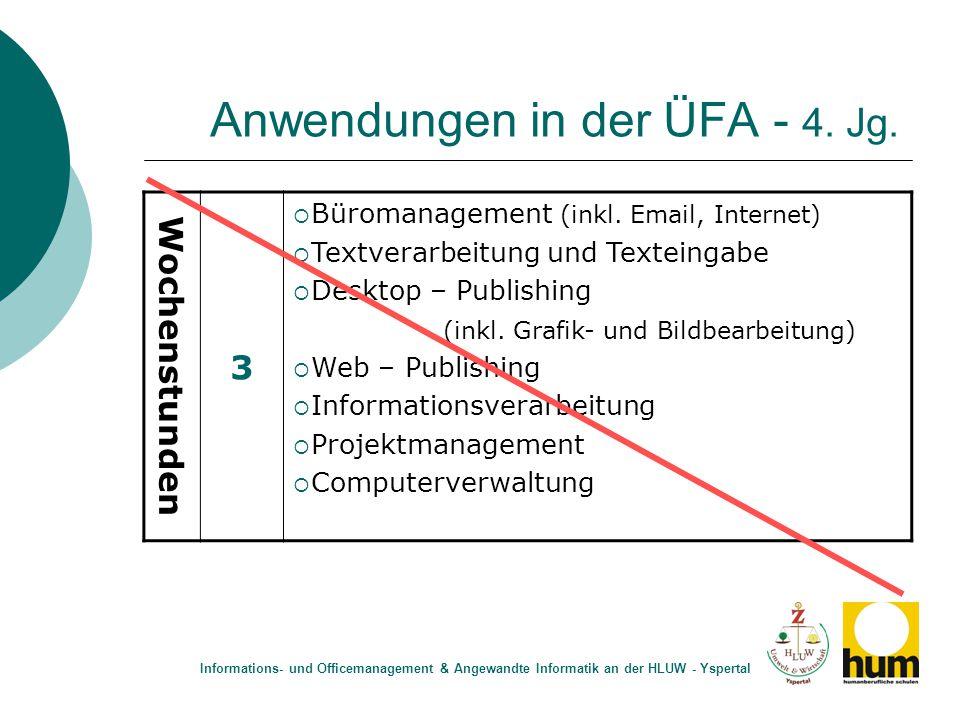 Anwendungen in der ÜFA - 4. Jg. Wochenstunden 3  Büromanagement (inkl. Email, Internet)  Textverarbeitung und Texteingabe  Desktop – Publishing (in