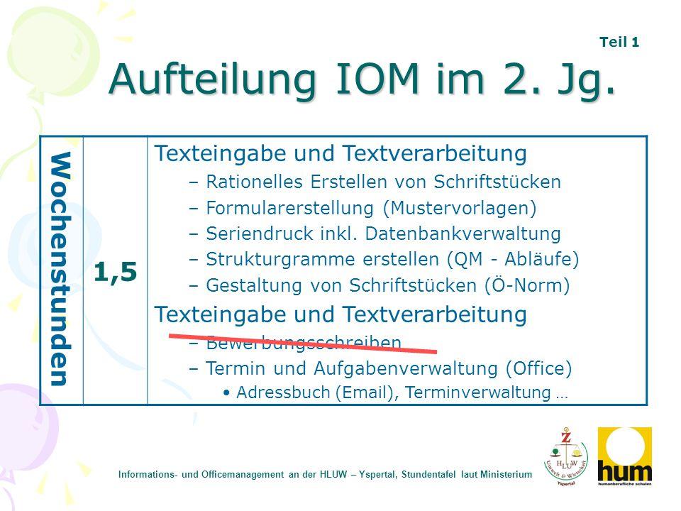 Aufteilung IOM im 2. Jg. Wochenstunden 1,5 Texteingabe und Textverarbeitung – Rationelles Erstellen von Schriftstücken – Formularerstellung (Mustervor