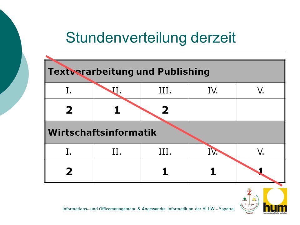 Stundenverteilung derzeit Textverarbeitung und Publishing I.II.III.IV.V. 212 Wirtschaftsinformatik I.II.III.IV.V. 2111 Informations- und Officemanagem