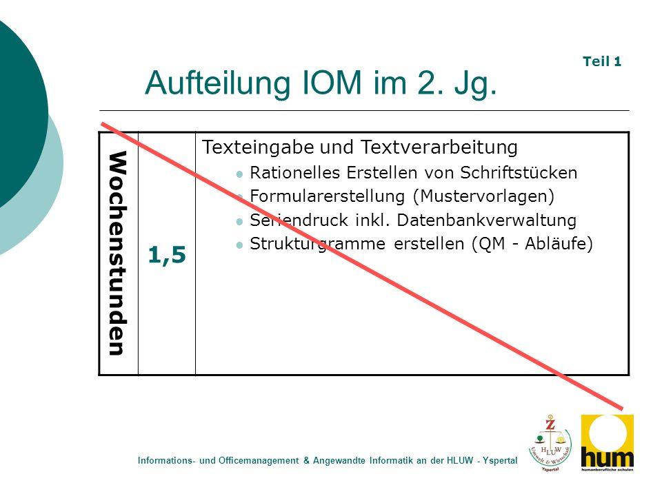Aufteilung IOM im 3.Jg.