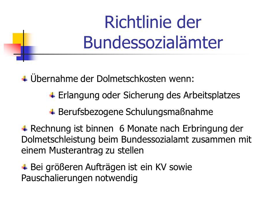 Bundesländer Sind zuständig für die soziale Rehabilitation Es gibt Förderbetragsobergrenzen ( € 2.000.- pro Jahr und Person) Es gibt Einkommensgrenzen (dzt.