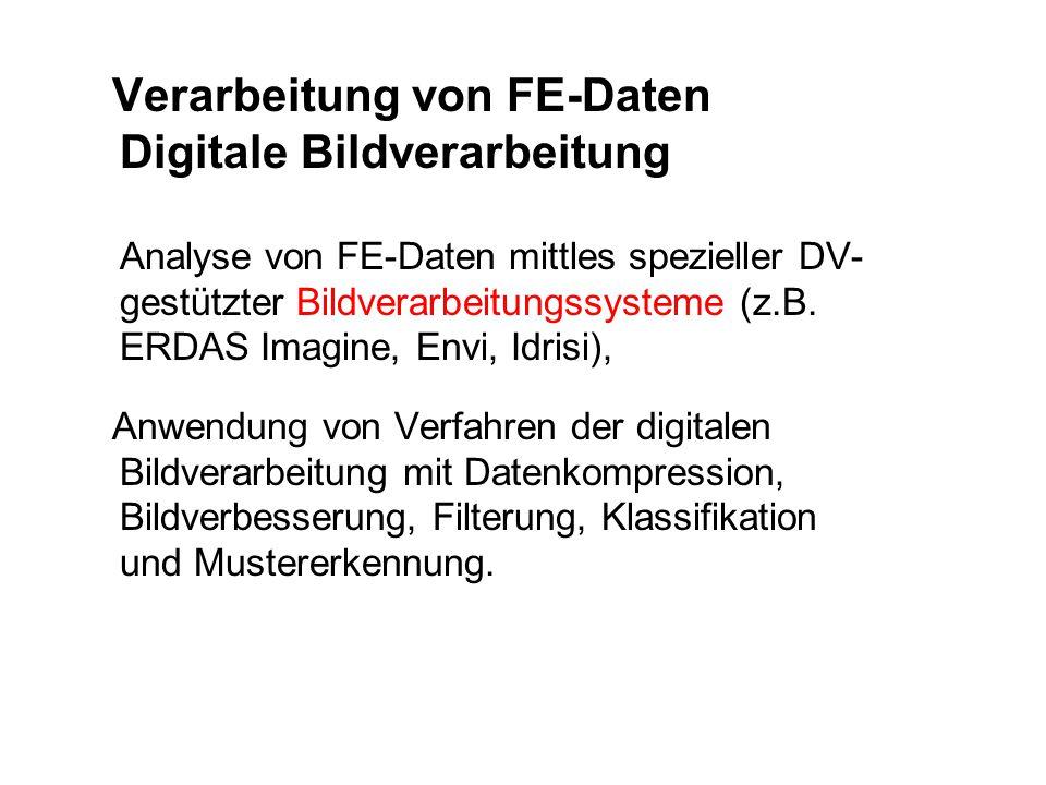 Verarbeitung von FE-Daten Digitale Bildverarbeitung Analyse von FE-Daten mittles spezieller DV- gestützter Bildverarbeitungssysteme (z.B. ERDAS Imagin