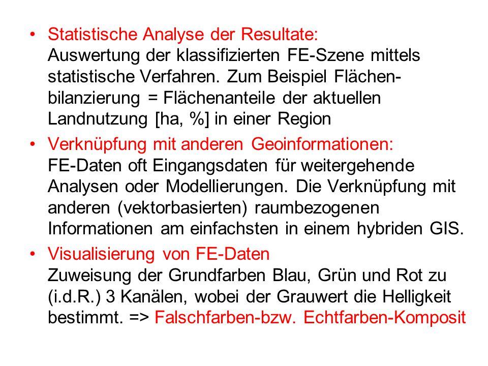 Statistische Analyse der Resultate: Auswertung der klassifizierten FE-Szene mittels statistische Verfahren. Zum Beispiel Flächen- bilanzierung = Fläch