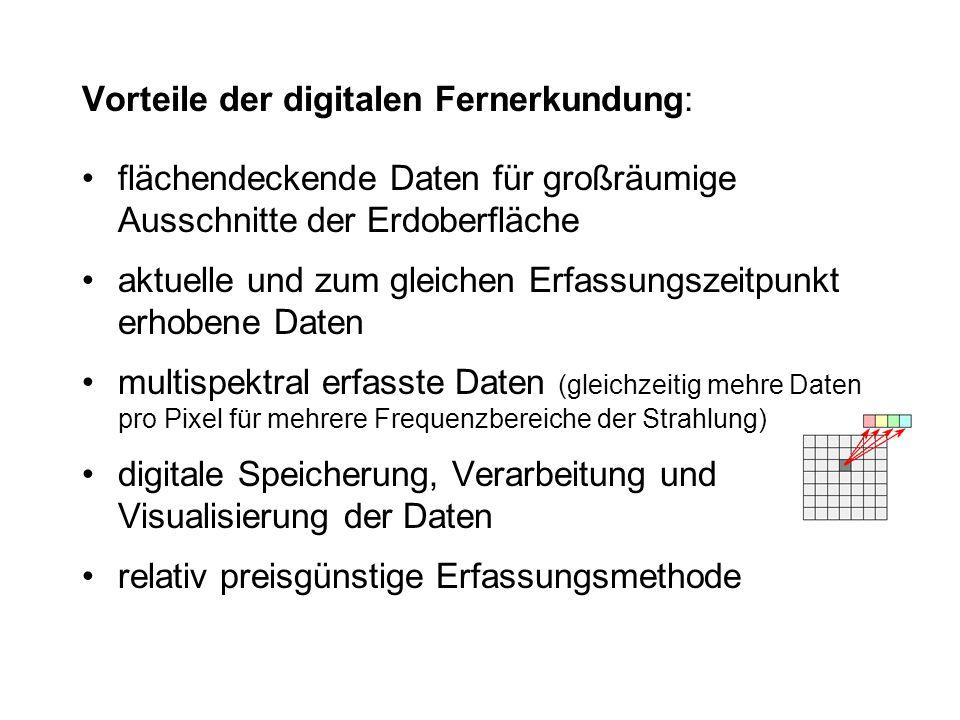 Nachteile der digitalen Fernerkundung: Räumliche Auflösung (Größe des Bodenelementes) für großmaßstäbige Fragestellungen nicht immer ausreichend.