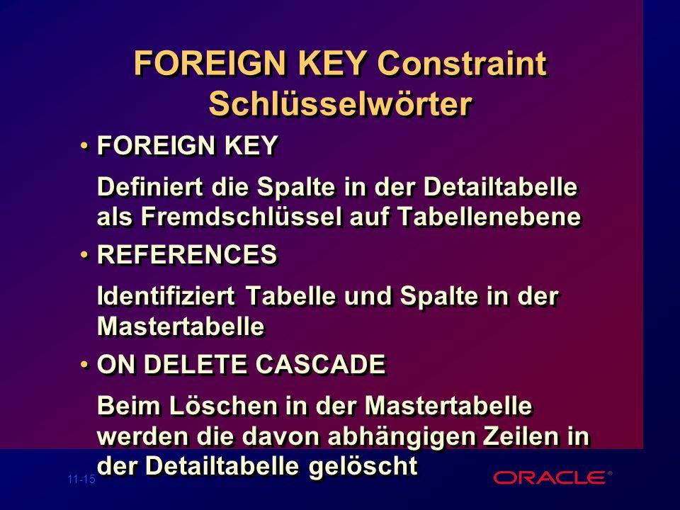 11-14 Das FOREIGN KEY Constraint Definiert auf Tabellen- oder Spaltenebene SQL> CREATE TABLE emp( 2 empno NUMBER(4), 3enameVARCHAR2(10) NOT NULL, 4job