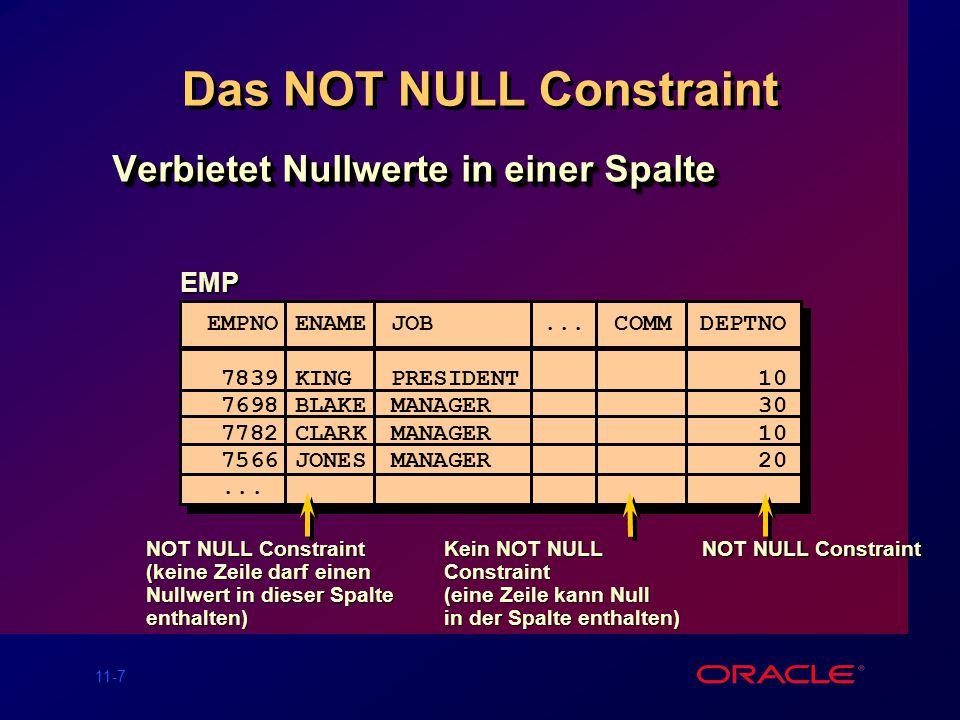 11-17 Hinzufügen eines Constraints Hinzufügen (ADD) oder Löschen (DROP) aber keine Modifikation eines Constraints Einschalten (ENABLE) oder Ausschal- ten (DISABLE) von Constraints Hinzufügen (ADD) oder Löschen (DROP) aber keine Modifikation eines Constraints Einschalten (ENABLE) oder Ausschal- ten (DISABLE) von Constraints ALTER TABLE table ADD [CONSTRAINT constraint] type (column); ALTER TABLE table ADD [CONSTRAINT constraint] type (column);