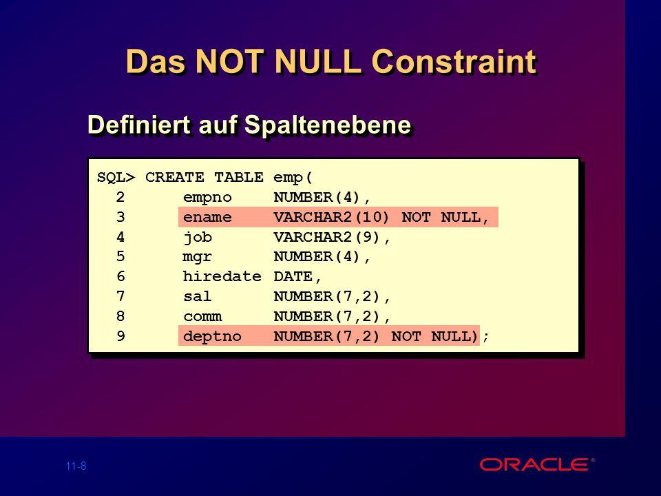 11-8 Das NOT NULL Constraint Definiert auf Spaltenebene SQL> CREATE TABLE emp( 2 empno NUMBER(4), 3enameVARCHAR2(10) NOT NULL, 4jobVARCHAR2(9), 5mgrNUMBER(4), 6hiredateDATE, 7salNUMBER(7,2), 8 commNUMBER(7,2), 9deptnoNUMBER(7,2) NOT NULL);