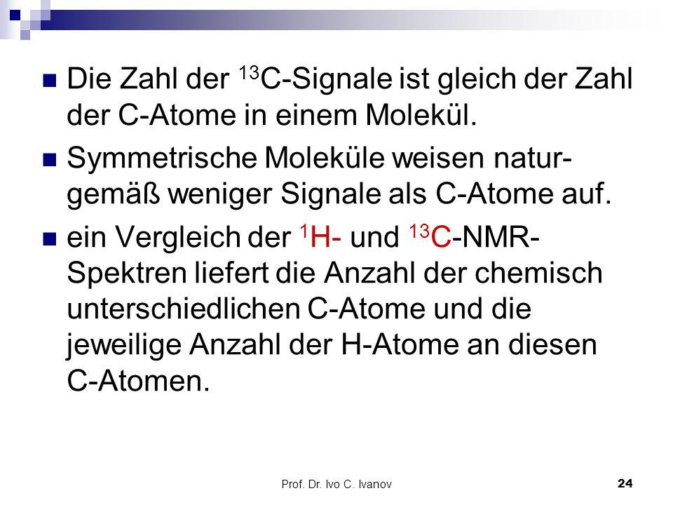 Prof. Dr. Ivo C. Ivanov24 Die Zahl der 13 C-Signale ist gleich der Zahl der C-Atome in einem Molekül. Symmetrische Moleküle weisen natur- gemäß wenige