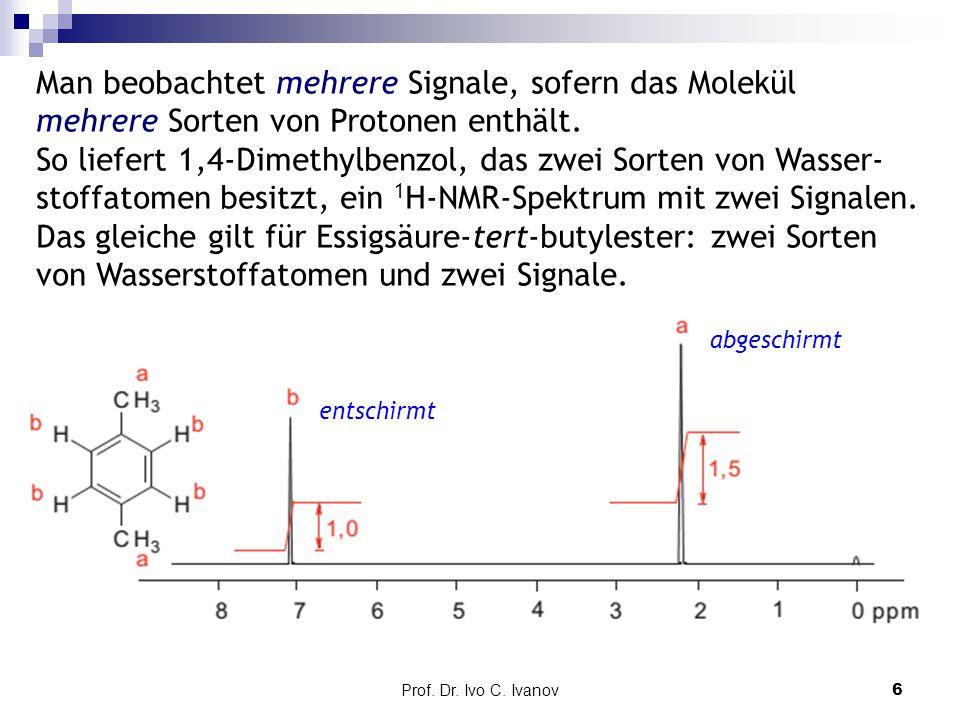 Prof. Dr. Ivo C. Ivanov6 Man beobachtet mehrere Signale, sofern das Molekül mehrere Sorten von Protonen enthält. So liefert 1,4-Dimethylbenzol, das zw