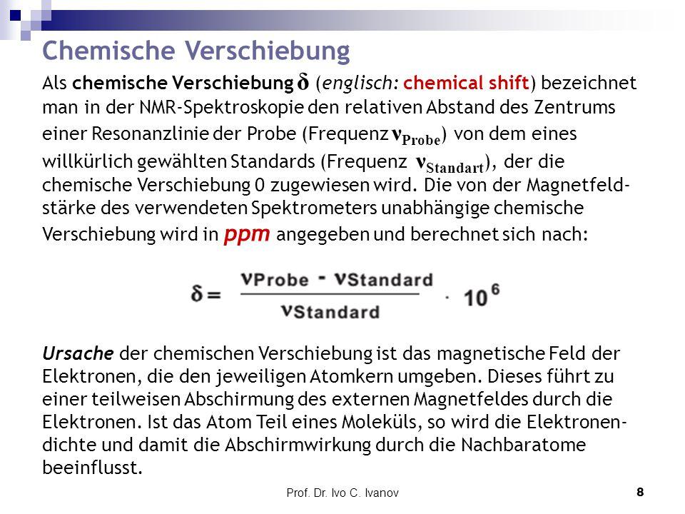 Prof.Dr. Ivo C. Ivanov9 Bereich chemischer Verschiebungen von Protonen (X = Cl, Br, OR, NR 2 ).