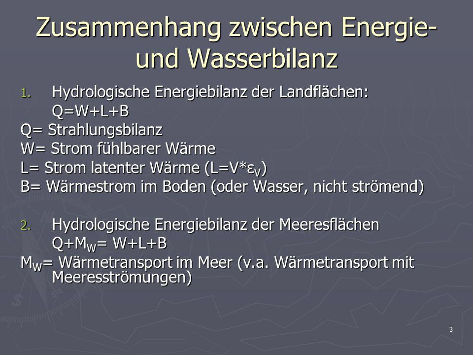 4 Zusammenhang zwischen Energie- und Wasserbilanz Wasserbilanz: N= V+A Energetische Wasserbilanz: N*ε V = V*ε V + A*ε V (ε V = Verdunstungsenthalpie) N*ε V: latente Niederschlagswärme V*ε V : latente Verdunstungswärme A*ε V : latente Abflusswärme NS- Wärmequotient: N*ε V /Q Verdunstungswärmequotient: V*ε V /Q Abflusswärmequotient: A*ε V /Q Strahlungstrockenheitsindex: Q/ N*ε V (= inverser NS- wärmequotient )