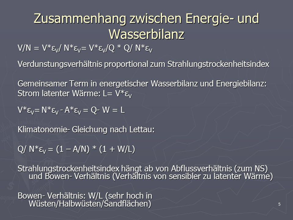 5 Zusammenhang zwischen Energie- und Wasserbilanz V/N = V*ε V / N*ε V = V*ε V /Q * Q/ N*ε V Verdunstungsverhältnis proportional zum Strahlungstrockenheitsindex Gemeinsamer Term in energetischer Wasserbilanz und Energiebilanz: Strom latenter Wärme: L= V*ε V V*ε V = N*ε V - A*ε V = Q- W = L Klimatonomie- Gleichung nach Lettau: Q/ N*ε V = (1 – A/N) * (1 + W/L) Strahlungstrockenheitsindex hängt ab von Abflussverhältnis (zum NS) und Bowen- Verhältnis (Verhältnis von sensibler zu latenter Wärme) Bowen- Verhältnis: W/L (sehr hoch in Wüsten/Halbwüsten/Sandflächen)