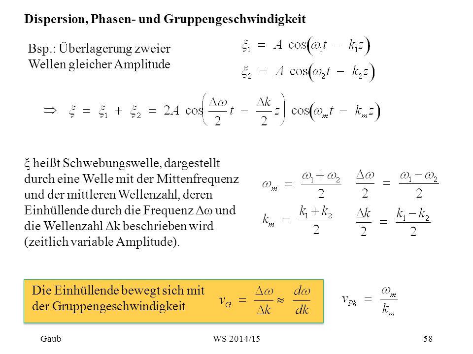 Bsp.: Überlagerung zweier Wellen gleicher Amplitude ξ heißt Schwebungswelle, dargestellt durch eine Welle mit der Mittenfrequenz und der mittleren Wel