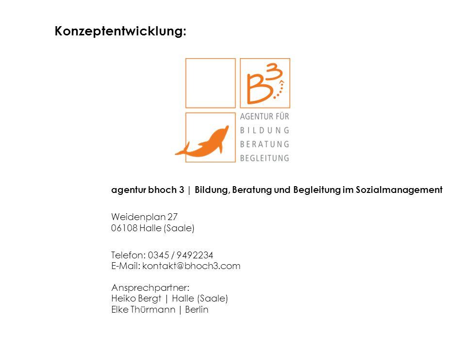 agentur bhoch 3 | Bildung, Beratung und Begleitung im Sozialmanagement Weidenplan 27 06108 Halle (Saale) Telefon: 0345 / 9492234 E-Mail: kontakt@bhoch