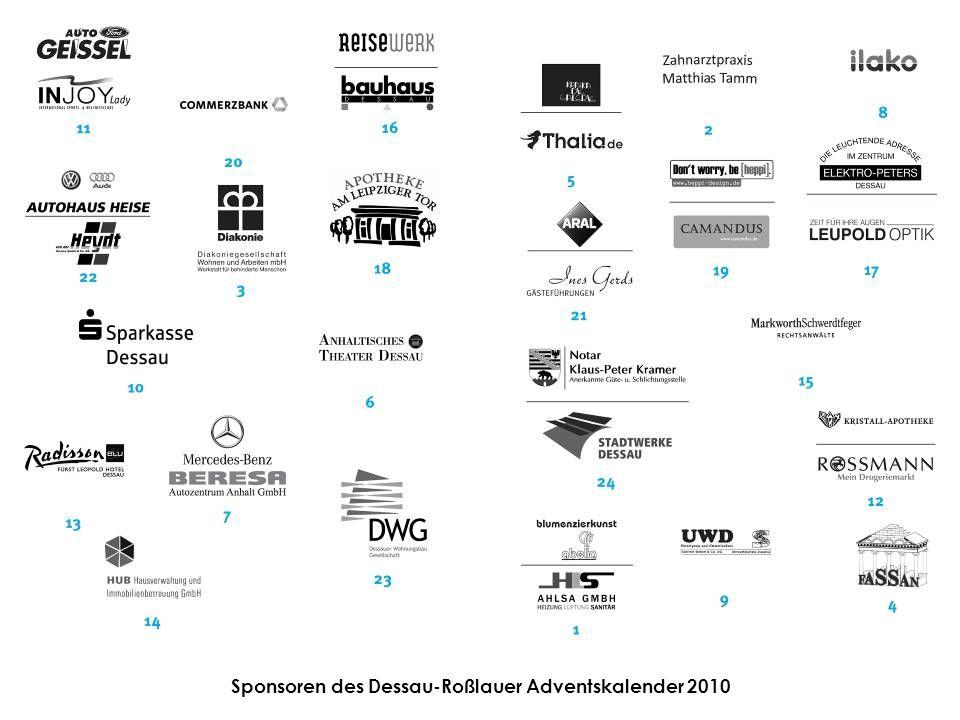 Sponsoren des Dessau-Roßlauer Adventskalender 2010