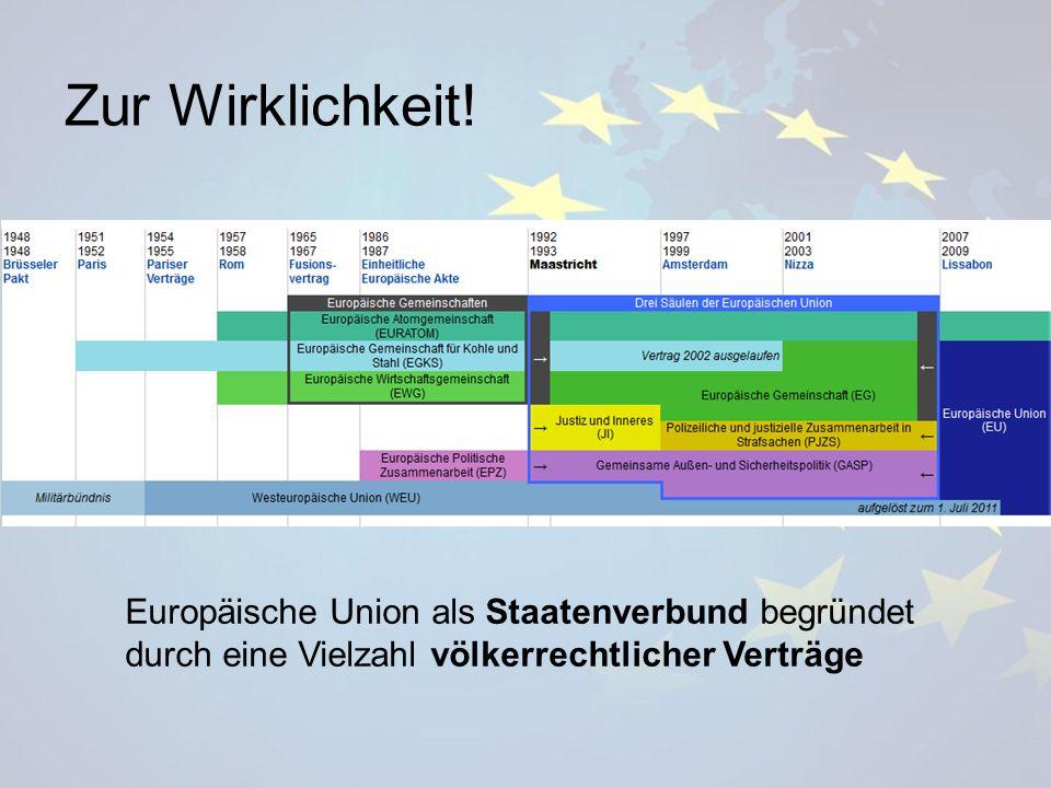 Europäische Union als Staatenverbund begründet durch eine Vielzahl völkerrechtlicher Verträge Zur Wirklichkeit!