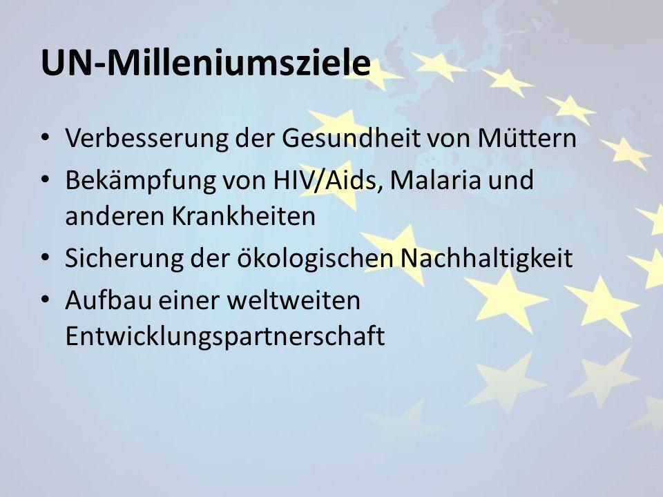 UN-Milleniumsziele Verbesserung der Gesundheit von Müttern Bekämpfung von HIV/Aids, Malaria und anderen Krankheiten Sicherung der ökologischen Nach