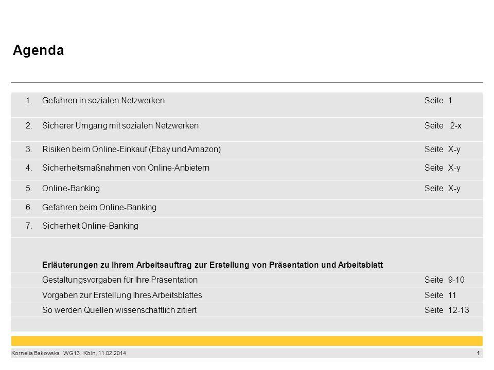 1 Kornelia Bakowska  WG13  Köln, 11.02.2014 1.Gefahren in sozialen NetzwerkenSeite1 2.Sicherer Umgang mit sozialen NetzwerkenSeite 2-x 3.Risiken b