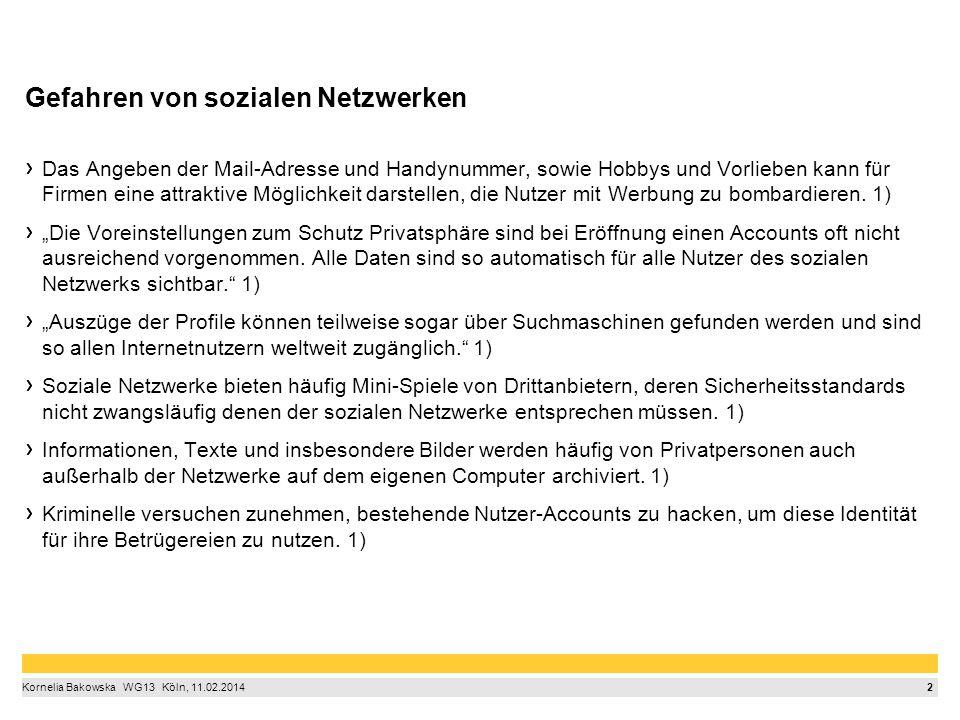 2 Kornelia Bakowska  WG13  Köln, 11.02.2014 Gefahren von sozialen Netzwerken Das Angeben der Mail-Adresse und Handynummer, sowie Hobbys und Vorlie
