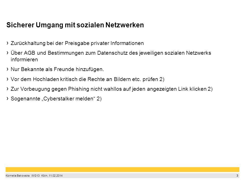 3 Kornelia Bakowska  WG13  Köln, 11.02.2014 Sicherer Umgang mit sozialen Netzwerken Zurückhaltung bei der Preisgabe privater Informationen Über AG