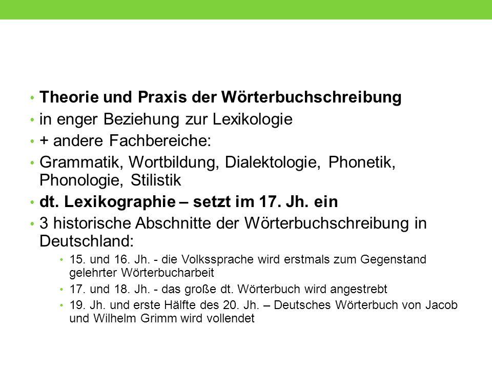 Das Deutsche Wörterbuch von Jacob und Wilhelm Grimm Plan 1838 gefasst, erste Lieferung erschien 1854, vollendet 1960 etymologische Angaben Kontexte Quellenhinweise Bedeutungsvarianten Gebrauchsweisen grammatische Eintragungen Wortbildung http://woerterbuchnetz.de/DWB/