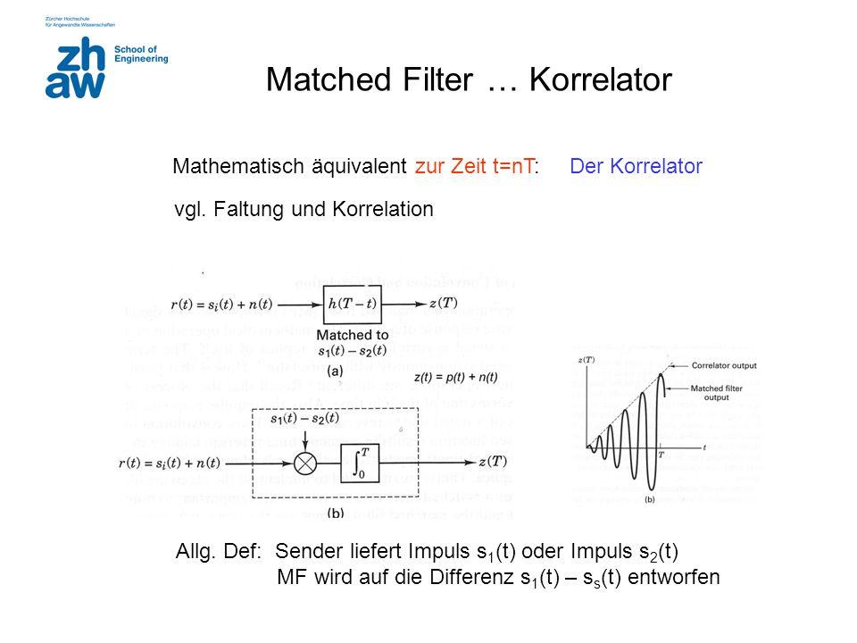Matched Filter … Korrelator Mathematisch äquivalent zur Zeit t=nT: Der Korrelator Allg. Def: Sender liefert Impuls s 1 (t) oder Impuls s 2 (t) MF wird