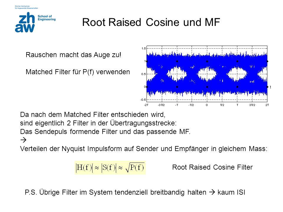 Root Raised Cosine und MF Rauschen macht das Auge zu! Matched Filter für P(f) verwenden Da nach dem Matched Filter entschieden wird, sind eigentlich 2